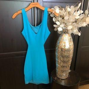 Blue Cutout Bebe Bodycon Dress
